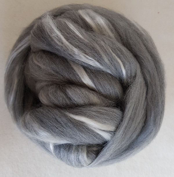 23 micron 64's Grey Merino/ Extra Bleached Tussah Silk Blend 70/30